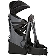 Clevr Deluxe Baby Toddler Backpack Cross Country Lightweight Carrier with Stand Child Kid Sun Shade Visor, Grey - Upgraded Foot Straps