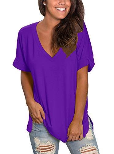 Topstype Womens Summer Short Sleeve T Shirts V Neck Tunic Roll Up Tops Cute Tees Loose Fitted Henley Workout Shirts Purple