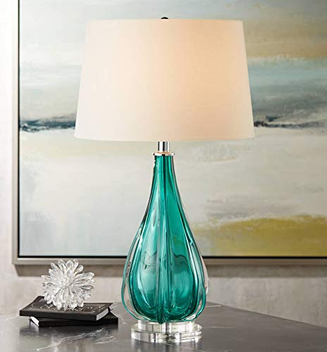 (Claudette Modern Table Lamp Turquoise Glass Wave Pattern Tapered White Drum Shade for Living Room Family Bedroom Bedside - Possini Euro Design)