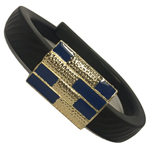 Fitbit Charge, Fitbit Charge HR, Fitbit Flex, Jawbone Up Jewelry to Accessorize Your Fitness Tracker - Modern Simple Abstract Navy Blue and White with Gold Geometric MALTA Charm Accessory Bracelet
