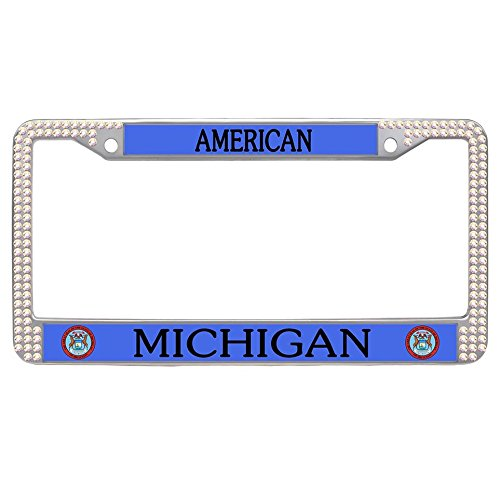 Nuoyizo Michigan License Plate Cover Customized Car Tag Holder Stainless Steel Rhinestone License Plate Frame Glitter Colorful Rhinestone Auto Car Tag With Two Holes