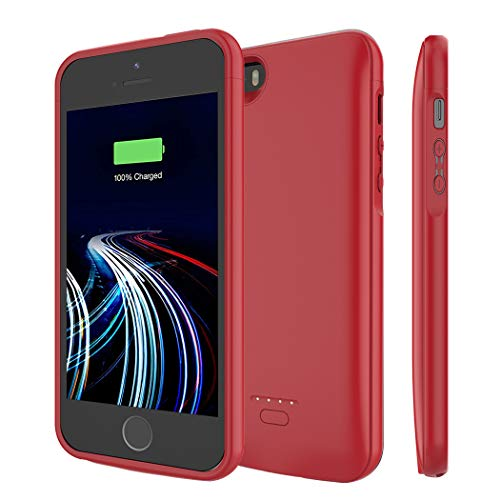 Charger Case for iPhone 5/5S/SE 4000mAh, JERSS Portable Rechargeable Battery Pack Battery Case for Apple iPhone 5/5S/SE Extended Charging Case Protective Power Bank Backup Cover (Red)