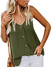 Hisweet Women's Sleeveless Strappy Tank Tops Button Down V Neck Blouse