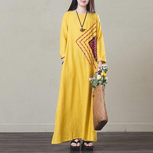 Impreso Algodón Primavera De Suelta Vestidos Lino De XIU Vestidos Niños De yellow Túnica RONG 1gqWYR4