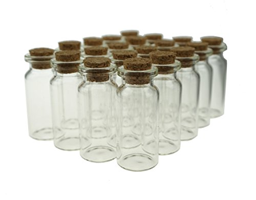 Shxstore Small Mini Glass Bottles Jars with Cork Stoppers for Art Crafts and Decorations, Pack of 20