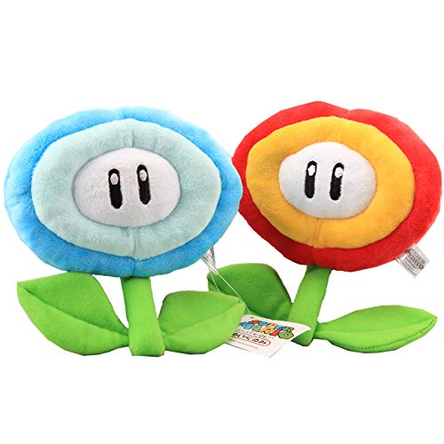 uiuoutoy Super Mario Bros. Fire Flower & Ice Flower Plush 7'' Set of 2 pcs ()