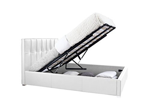 "Rosalia Upholstered Platform Bed King Size White Eco Leather Tufted Headboard Wooden Frame 86"" W: 81 3/4"" H: 42"""