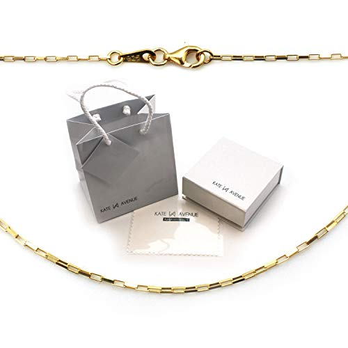 22K Gold Over 925 Sterling Silver Small Box Chain Necklace - Finished Chain ()