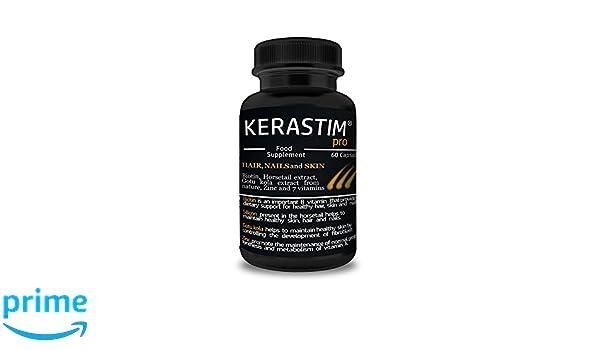 KERASTIM PRO - Tratamiento anti pérdida de cabello, repetición para el pelo, uñas y piel con biotina, extracto de hortaliza, extracto de kola de Gotu, ...