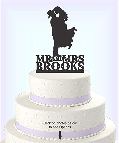 Country Western Wedding Cake Topper Silhouette Cowboy with Hat both wearing boots, personalized with name-Choice of Acrylic or Wood [CT17wn] ()
