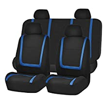 FH Group FB032BLUE114 Blue Unique Flat Cloth Car Seat Cover (w. 4 Detachable Headrests and Solid Bench)
