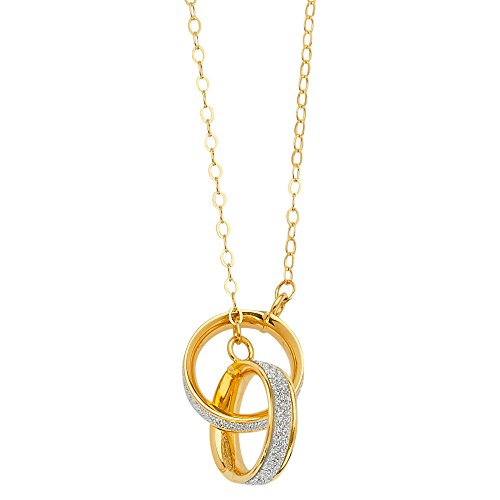 14k Yellow Gold Fancy Glitter Joint Two Ring Charm Pendant Necklace with 17