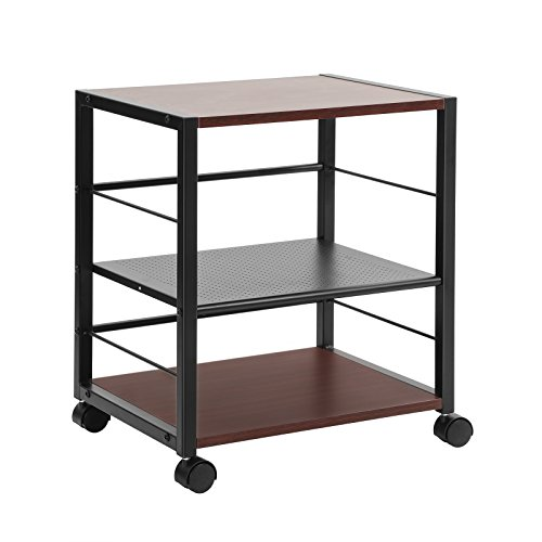SONGMICS Serving Cart with Lockable Caster Wheels, 3-Tier Kitchen Cart Utility Wood Look Accent Furniture with Metal Frame for Kitchen, Bedroom, Living Room, Garage Modern Style ULRC63BR