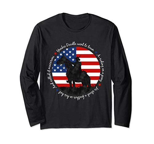 Yankee Doodle Patriotic popular American Song July 4th horse Long Sleeve T-Shirt ()