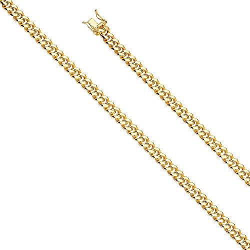 14k Yellow Gold 6.5mm Hollow Miami Cuban Chain Bracelet with Box Lock Clasp - 8.5