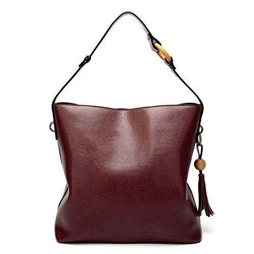 Bags Women Purse with Lady amp;Sue Tassel Vertical Vintage Handbag Leather Burgandy Tote Mn Satchel Work Shoulder Hobo twPx4UnCq