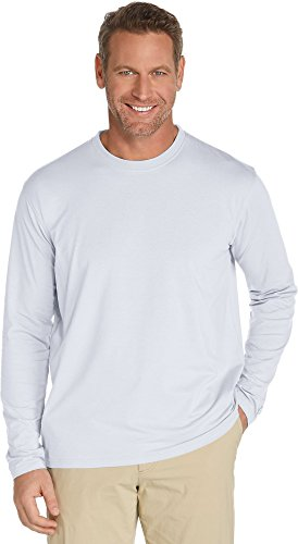Coolibar UPF 50+ Men's Long Sleeve T-shirt - Sun Protective White, Large