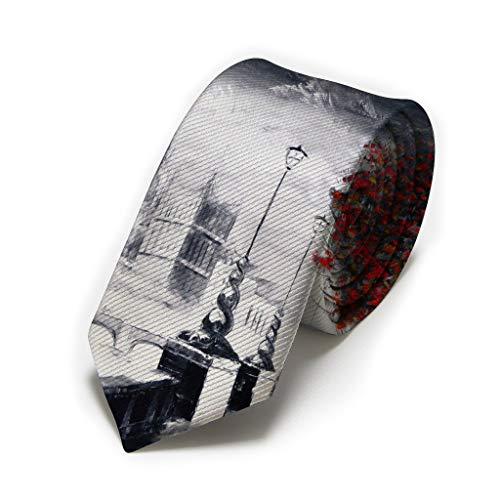 Brilliant City Of London Canvas Fashion Men'S Tie Necktie Formal Skinny Long Ties Men Date Gift Twill Slim Neckties For Gentleman Teen Boys Meeting Party Wedding