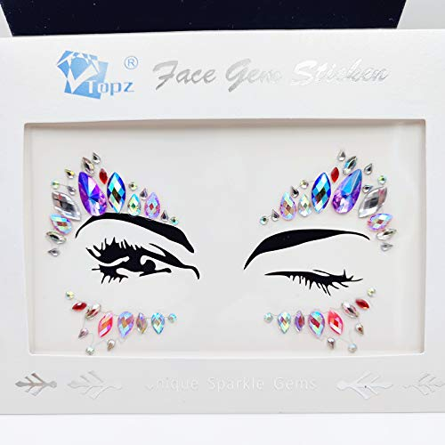 Face Tattoo Body Sticker Women Mermaid Blue Face Gems Glitter Rhinestone Face Jewels Eyes Face Body Temporary Tattoos for EDM Music Festival (Purple ab-S090)]()