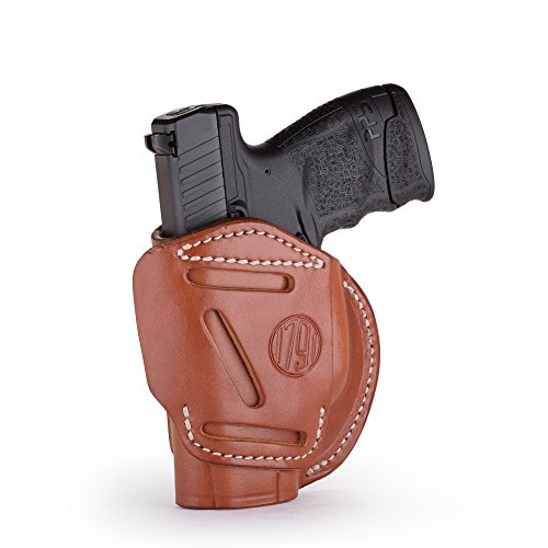 1791 GUNLEATHER 4-Way XDS Holster - OWB and IWB CCW Holster - Right Handed Leather Gun Holster - Fits Springfield XDS, S&W MP9 Shield, Ruger SR9c, LC9, SR40 and Walther PPS (Classic Brown - Size 3) (Best Owb Holster For Ruger Sr9c)