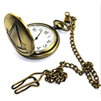 S Party Supply Assassins Creed Logo Goldtone Finish Pendant Necklace Pocket Watch