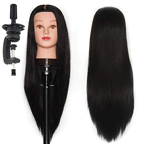 HAIREALM 26 Mannequin Head Hair Styling Training Head Manikin Cosmetology Doll Head Synthetic Fiber Hair (Table Clamp Stand Included) SJ02P