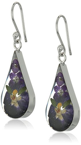Sterling Silver Pressed Flower Purple Teardrop Earrings, (Purple Teardrop Ring)