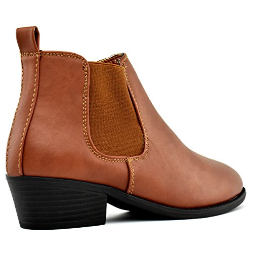 Premier Standard Damen Runde Kappe Faux Wildleder gestapelt Heel Western Ankle Bootie Cognac Pu