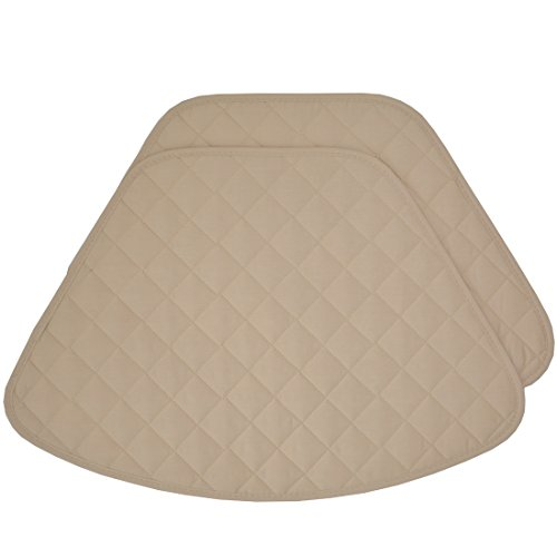 Set of 2 Solid Hickory Quilted Wedge-Shaped Placemats for Round Tables