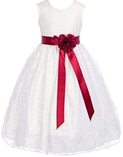 Little Girls Champagne Dress Lace Custom Ribbon Flowers Girls Dresses Burgundy Burgundy 6