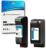 Printing Pleasure 2 (FULL SET) Remanufactured Ink Cartridges Replacement for HP 45 / HP 78 for HP Officejet 1170 G55 G85 G95 K60 K80 Photosmart 1000 1100 1115 1215 1215vm 1218 1218xi 1315 P1000 P1100 P1100xi P1215 P1215vm P1218 P1218xi P1315 - Black/Colour, High Capacity