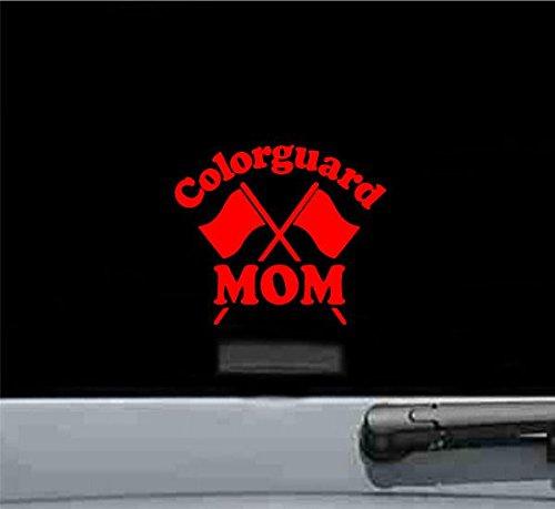 Colorguard Mom Vinyl Decal Sticker (RED) (Guard Vinyl Rim)