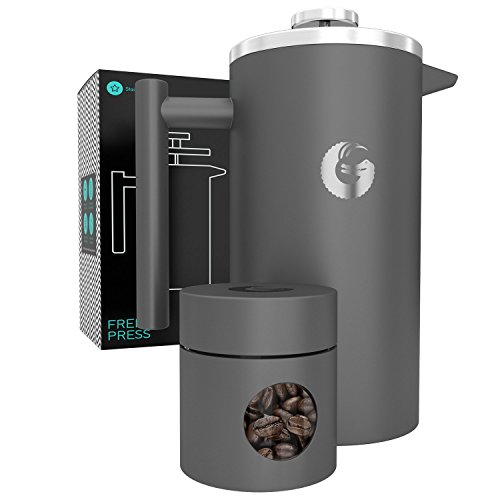 Screen Flavor (Large French Press Coffee Maker – Vacuum Insulated Stainless Steel, 34 floz, Gray)