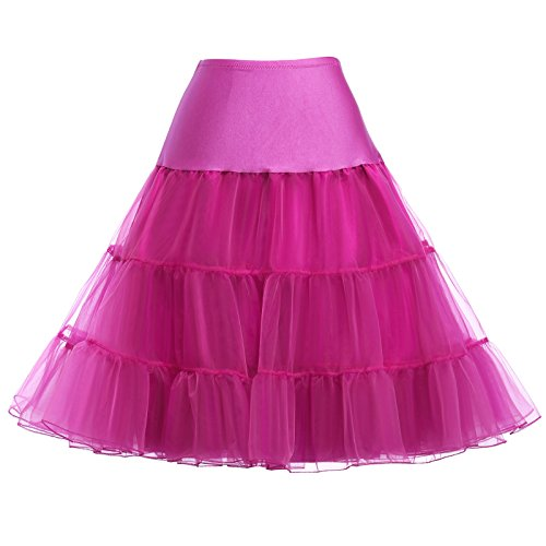 GRACE KARIN Vintage Swing Net Petticoat Skirt Tutu with Satin Hem Rose Red Size XL
