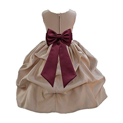 ekidsbridal Champagne Satin Bubble Pickup Junior Flower Girl Dress Christening Dress 208T 6