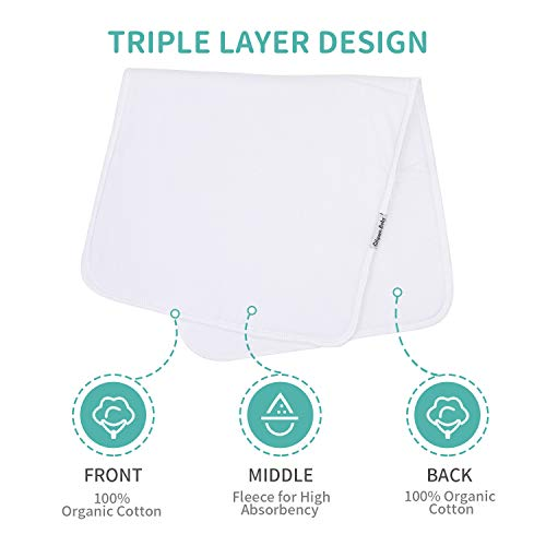 Baby Burp Cloth, 100% Organic Cotton Triple Layer Burp Cloth 19\'\'x9\'\' Large Size Premium Absorbent Burping Rags, 5 Packs Ultra Soft Towels Spit Up Cloths for Babies