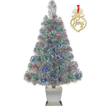 Silver Fiber Optic Christmas Tree Pre Lit Artificial 32 inch Concord with Christmas Word Wooden Ornament with Red Ribbon ()