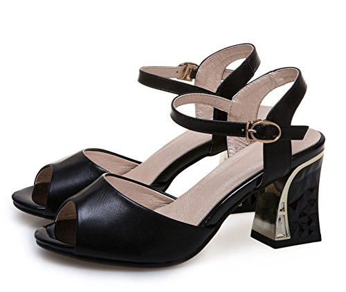 Aisun Womens Simple Buckle Peep Toe Dress Chunky Medium Heeled Sandals Shoes With Ankle Straps Black 5qXRbV