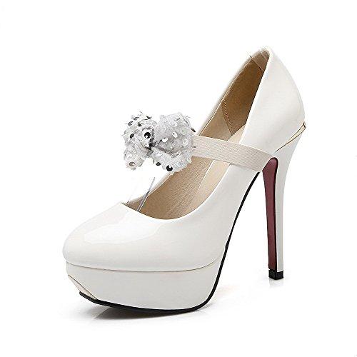 Couleur Rond Unie Agoolar L Chaussures Verni Stylet Tire Femme zInq57