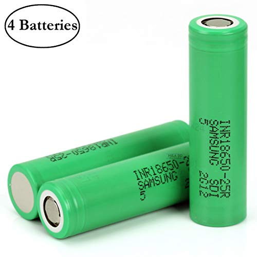 Samsung High Drain INR18650 25R 20A 2500mAh Rechargeable Flat Top 3.7V Battery, (4 Pcs) by M&A BD Electronics