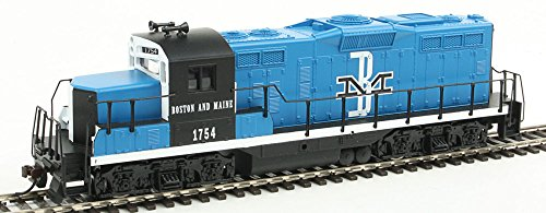 Walthers Trainline HO Scale Model EMD GP9M Standard DC Boston & Maine #1754 Train, Blue/Black/White