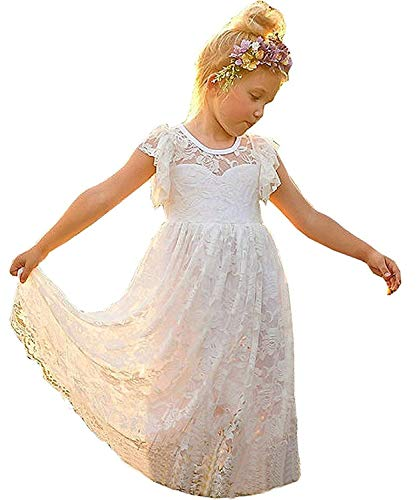 KSDN Lace Boho Style Tea Length A Line Flower Girl Dresses 2-14 Year Old US 8 White ()