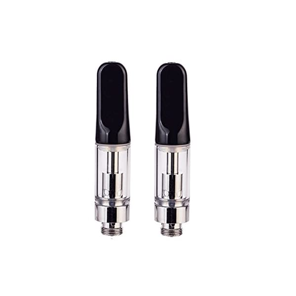 (Pack of 2) C2 CBD Oil Vape Tank Glass Refillable Vape Cartridge (0.5ml)   510 Atomizer Ceramic Dual Coil Atomiser with Ceramic Mouthpiece (510 Thread) for CBD and Thick Oil Black[No Nicotine]