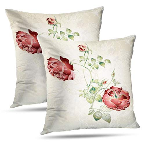 - KJONG Set of 2 Baroque Style Vintage Rose Aqua N Cream Lace Zippered Pillow Cover,Square Decorative Throw Pillow Case Fashion Style Cushion Covers(18 x 18 inch,Two Sides Print)