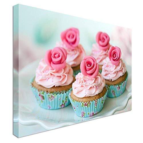 PotteLove Pink Rose Cupcakes Canvas Prints Wall Art, Canvas Wrap 12