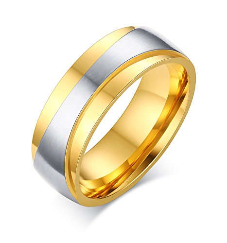 Stainless Steel Mens Couples Rings for Wedding Band Engagement Promise Bridal Set,Gold,Size 11