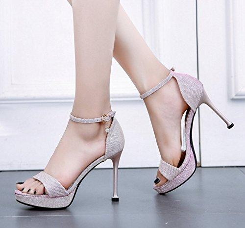 HBDLH Damenschuhe Sexy Pailletten Sommer - Tag Pailletten Sexy 10Cm Hochhackigen Schuhe Ein Wort mit Dünnen und Wasserdichte Tabelle Die Sandalen Damenschuhe. 3c32b5
