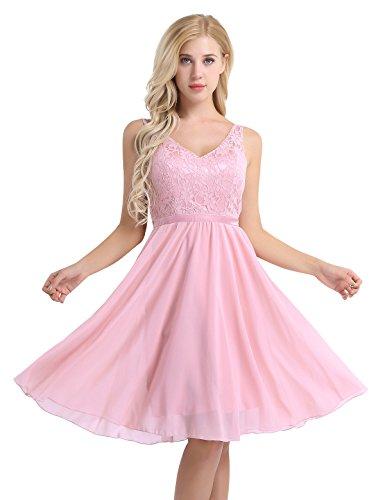 YiZYiF Women's Lace Chiffon A-Line Prom Formal Wedding Bridesmaid Short Mini Dress Pink 14