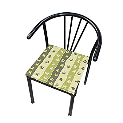 Bardic HNTGHX Outdoor/Indoor Chair Cushion Dog Paw Print Stripe Square Memory Foam Seat Pads Cushion for Patio Dining, 16