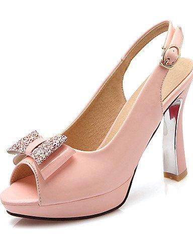 LFNLYX Zapatos de mujer-Tacón Spool-Tacones / Plataforma / Talón Descubierto / Punta Abierta-Sandalias-Vestido / Fiesta y Noche-Semicuero-Negro Pink